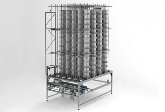 Acumulador vertical para moldes individuales
