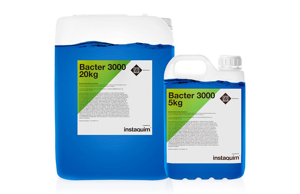 Bacter 3000,desinfectante con amonios cuaternarios y aldehídos.