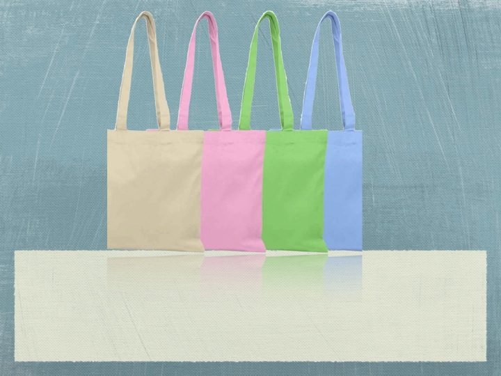 Recycled Organic Canvas Flat Tote Bag