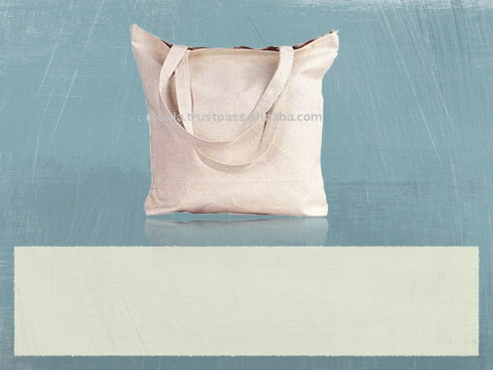 Recycled Organic Canvas Tote Bag with zip