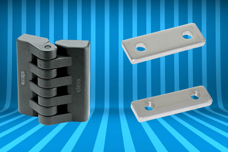 Plastic hinges and mounting adjustment devices