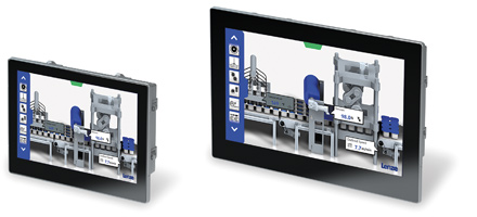Panel PC v800-CEl sistema de mando como rótulo de la máquina.
