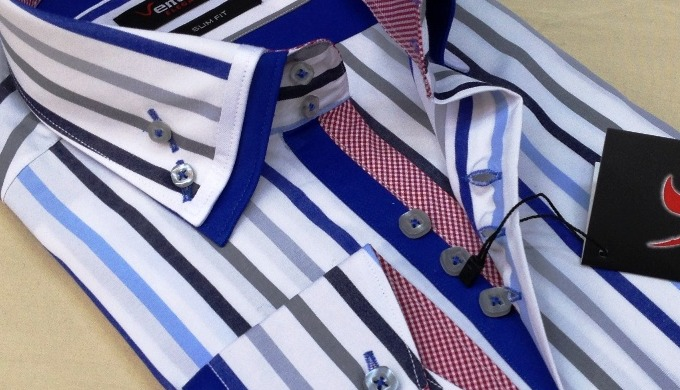 Striped double collar men's fashion shirts (ready for shipping)