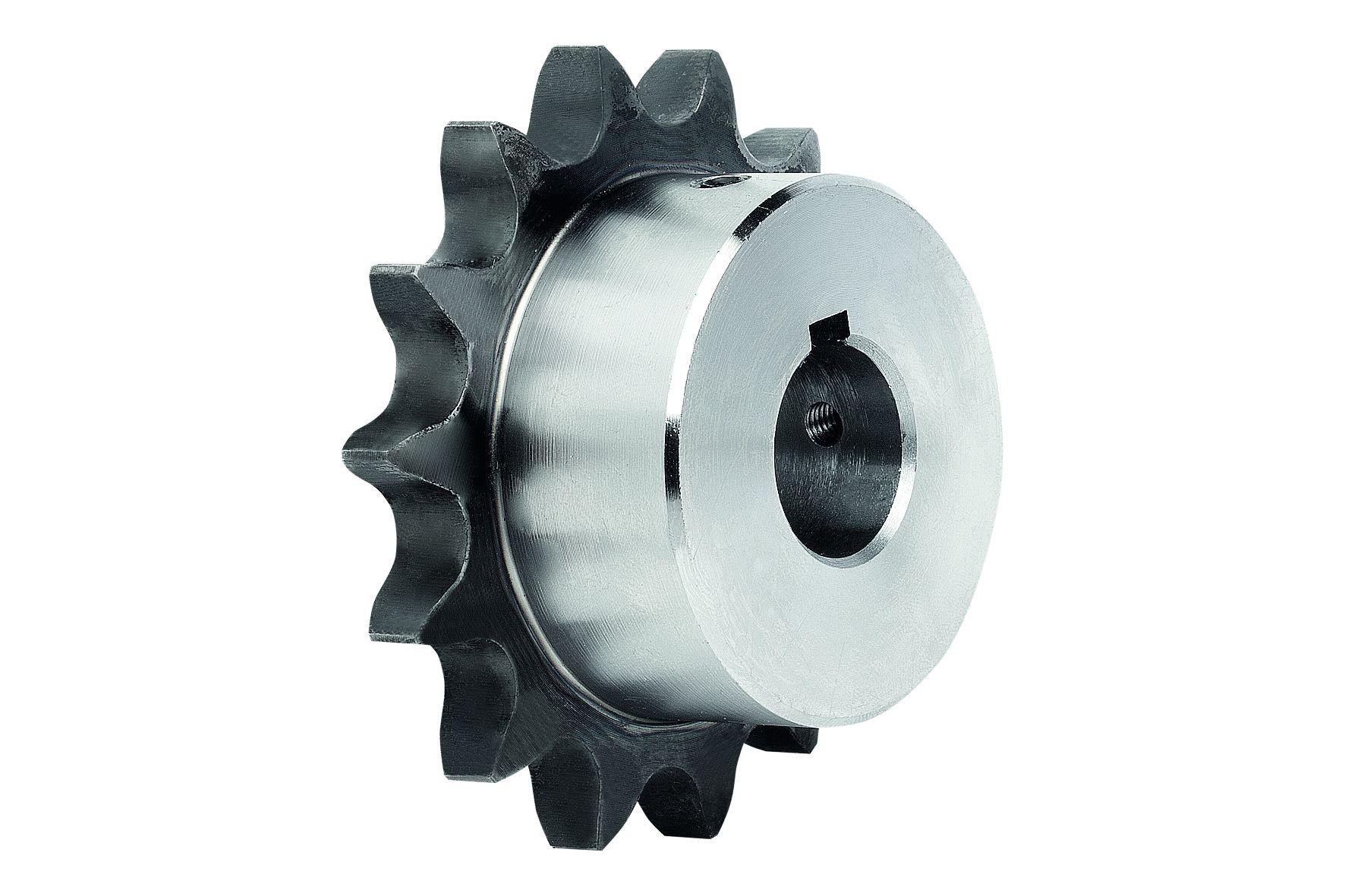 Werkstoff: Stahl C45. Ausführung: blank. Zähne induktiv gehärtet ~HRC 50. Hinweis: Einbaufertige Kettenräder mit einseit