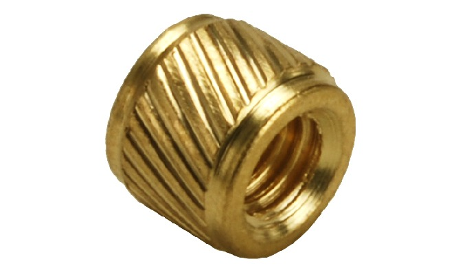 Brass Helical Knurl Molding Inserts are suitable for insertion into different type of plastic. The Helical knurl design