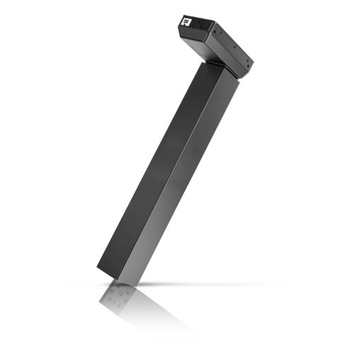 A 3-stage lifting column with motor housing and a unique square profile design. Ideal for office desks and tables, and c