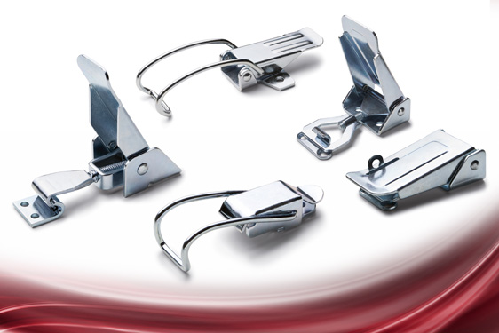 TL series hook (toggle) clamps from Elesa include adjustable flat clamps and non-adjustable spring hook types for lighte