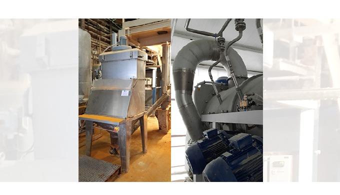 Mezcladora, rompesacos, sinfín transportador y válvula rotativa para alimentación animal