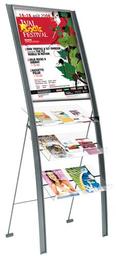 Esthétique et élégant, grande capacité Utilisations multiples: présentoir pour documentation et porte-affiches 3 table