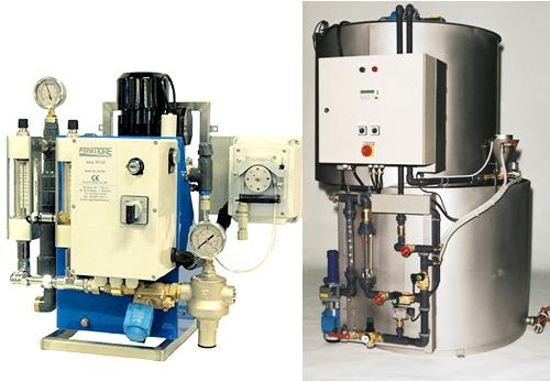 Kompletta utrustningar för upplösning och dosering av flytande,emulsions-/dispersionspolymerer.