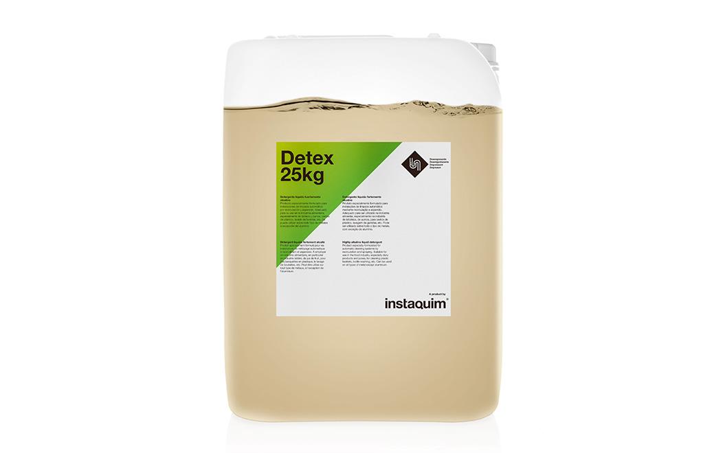 Detex, detergente líquido fuertamente alcalino.