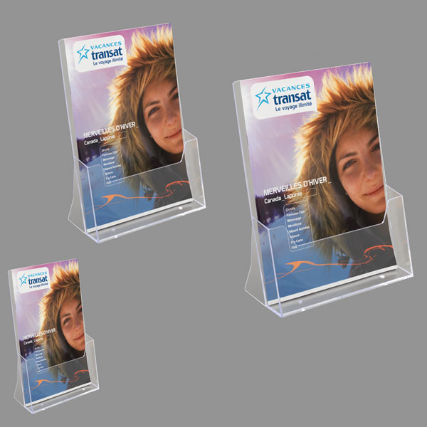 PRESENTOIR PORTE-BROCHURES FLYERS COMPTOIR 1 CASE A4, A5 & 1/3 A4 TRANSPARENT TAYMAR