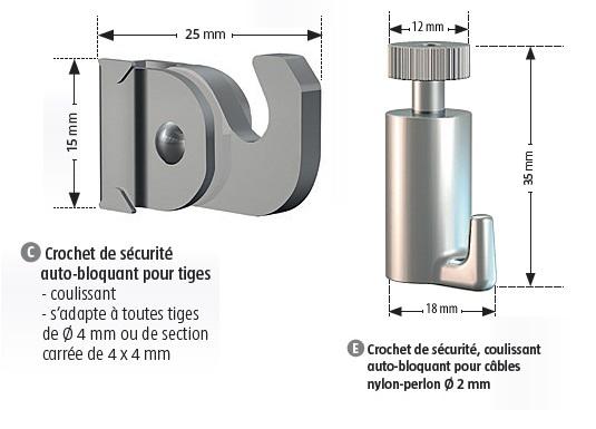 Lot 2 crochets de sécurité autobloquants (C) pour tiges 4x4 mm de notre programme, et également toute autre tige carrée