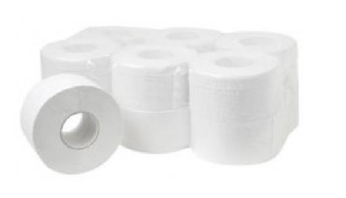 Papiers toilette Mini-Jumbo blanc en rouleau pure ouate de 150m. 2 plis lisses moletés, qualité supérieure de confort. 5