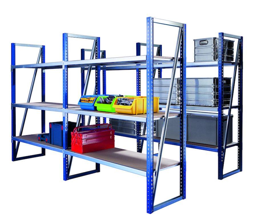 Komplettregal mit 6 FachebenenStützen: Farbig beschichtet, blau RAL 5010. Einfache Steckmontage. Fachebenen: Verzinkte T