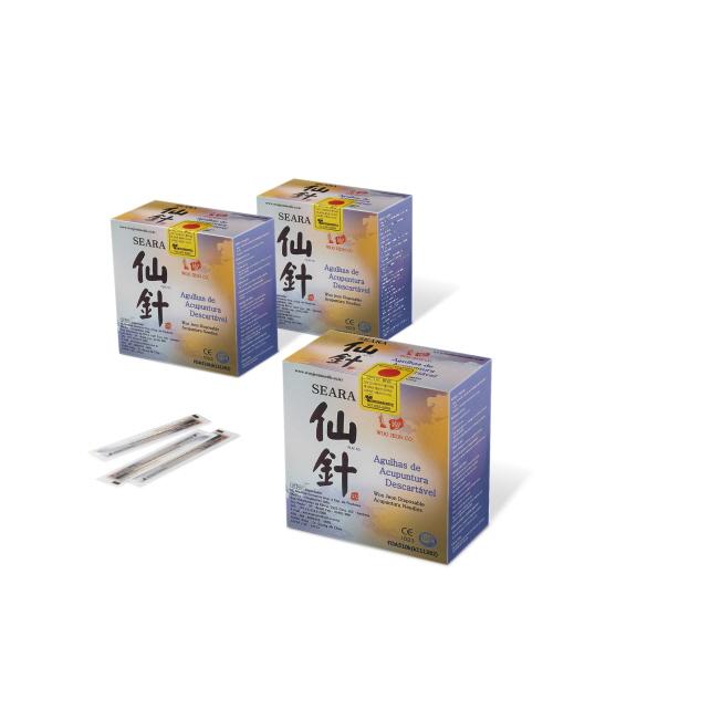 """Aiguilles stériles à usage unique en acier inoxydable avec manche en métal """"à ressort"""". Aiguille de 0,18 x 8mm, avec poi"""