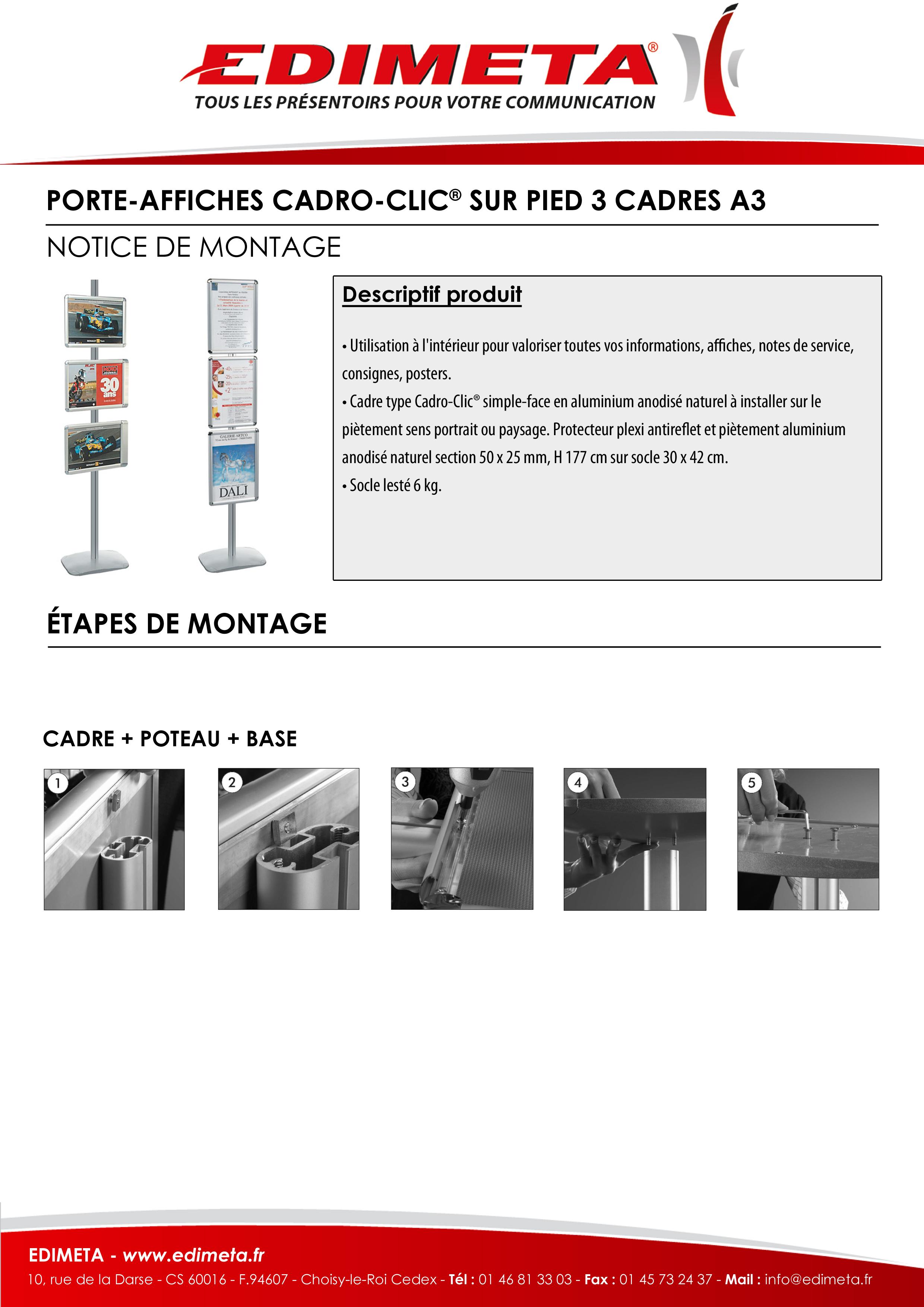 NOTICE DE MONTAGE : PORTE-AFFICHES CADRO-CLIC® SUR PIED 3 CADRES A3