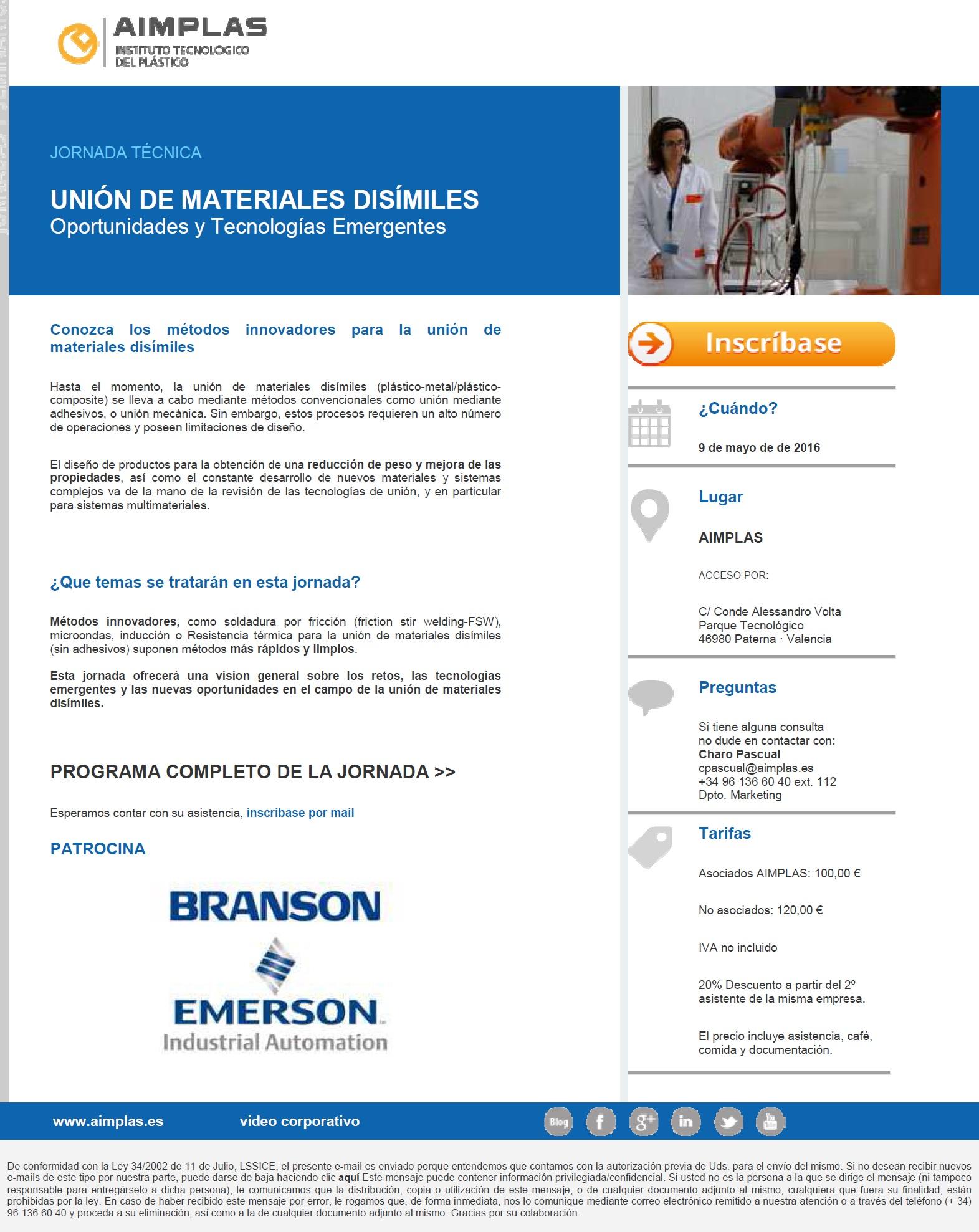 Jornada Técnica - Unión de materiales disímiles sin adhesivos
