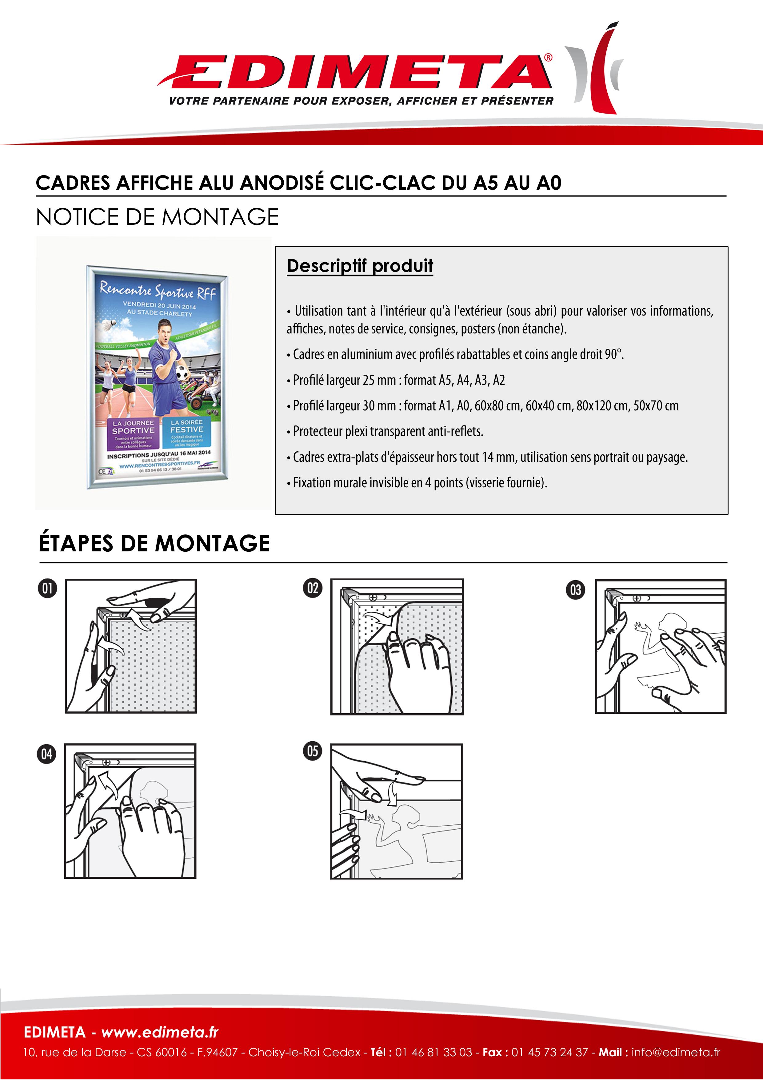 NOTICE DE MONTAGE : CADRE AFFICHE ALU ANODISÉ CLIC-CLAC DU A5 AU A0