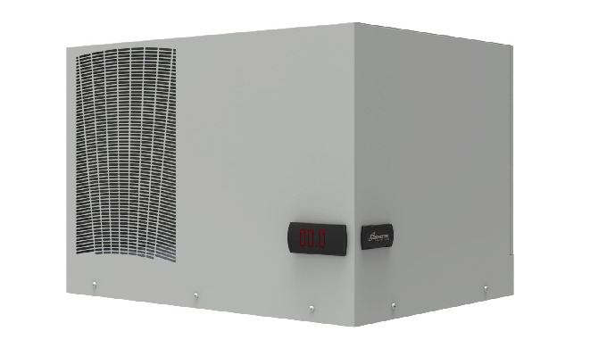 Top mounting air conditioner forelectric cabinets.Thanks to the new environment air flow management (condensate) is po