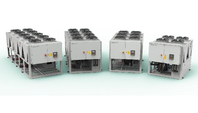Air condensed liquid chiller for industrial and process applications&#x3b; available in Standard, Low Noise and Free cooling