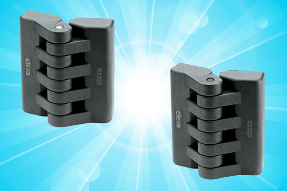 New high quality plastic hinges from Elesa for enclosures, access panels and machine guards