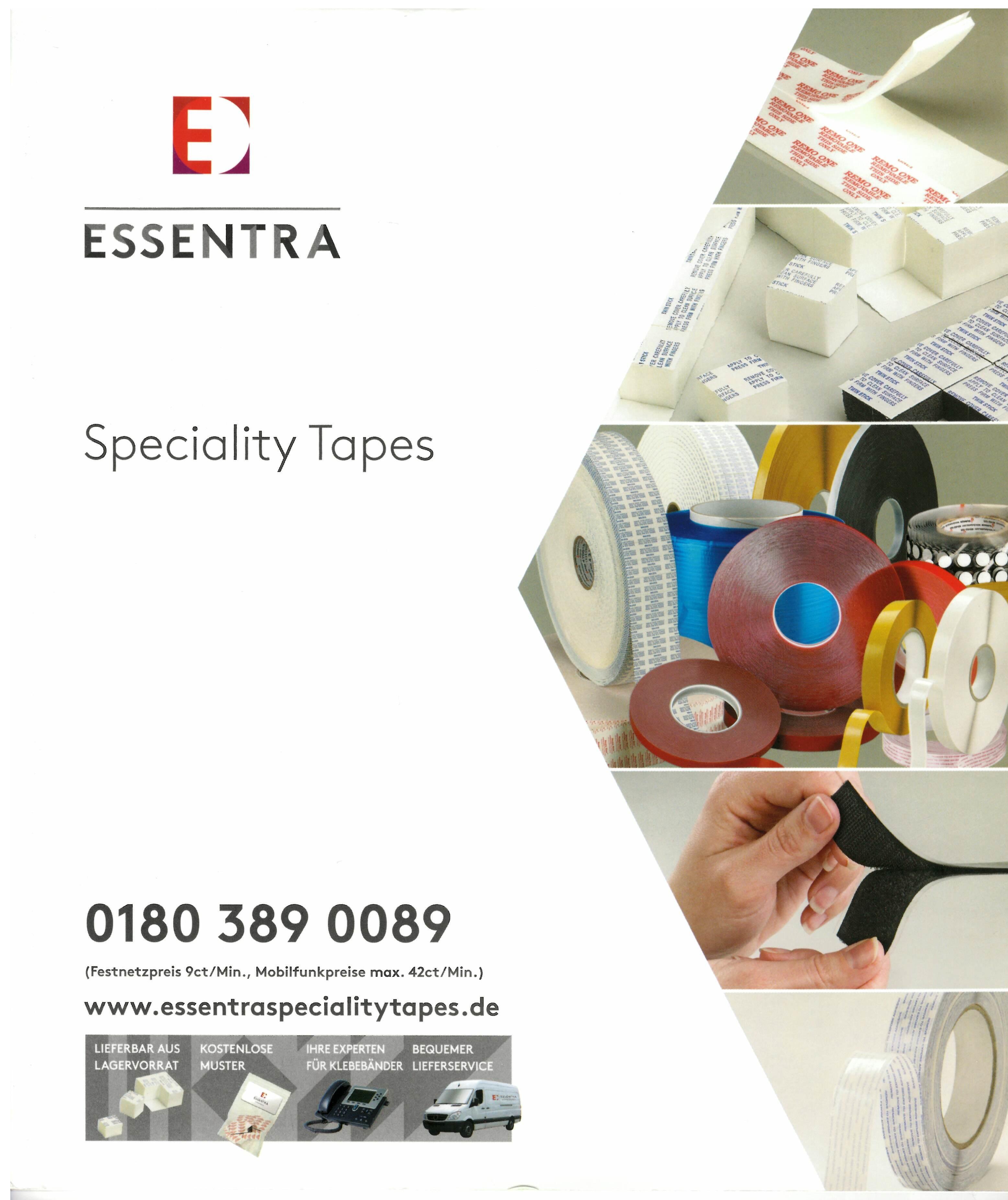 Spezialklebebänder von Essentra, für IHRE Anwendung entwickelt. Unser Sortiment umfasst: Gewebebänder Folienbänder Trans