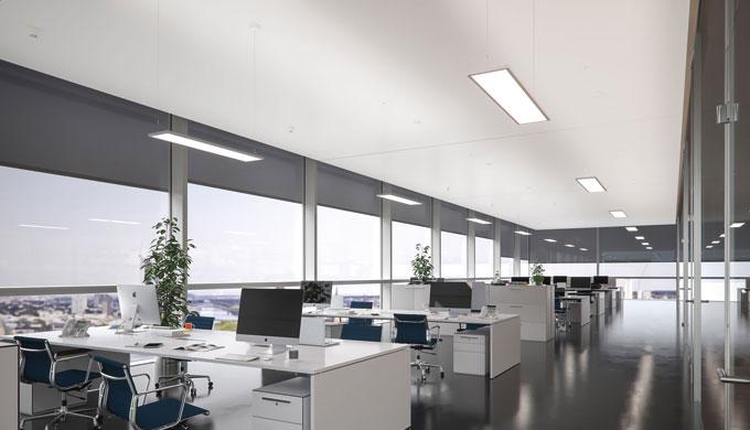 Pendelleuchte in besonders flacher Bauform Direktanteil mit Edgelight und Lightguide Technologie für einen homogenen Lic