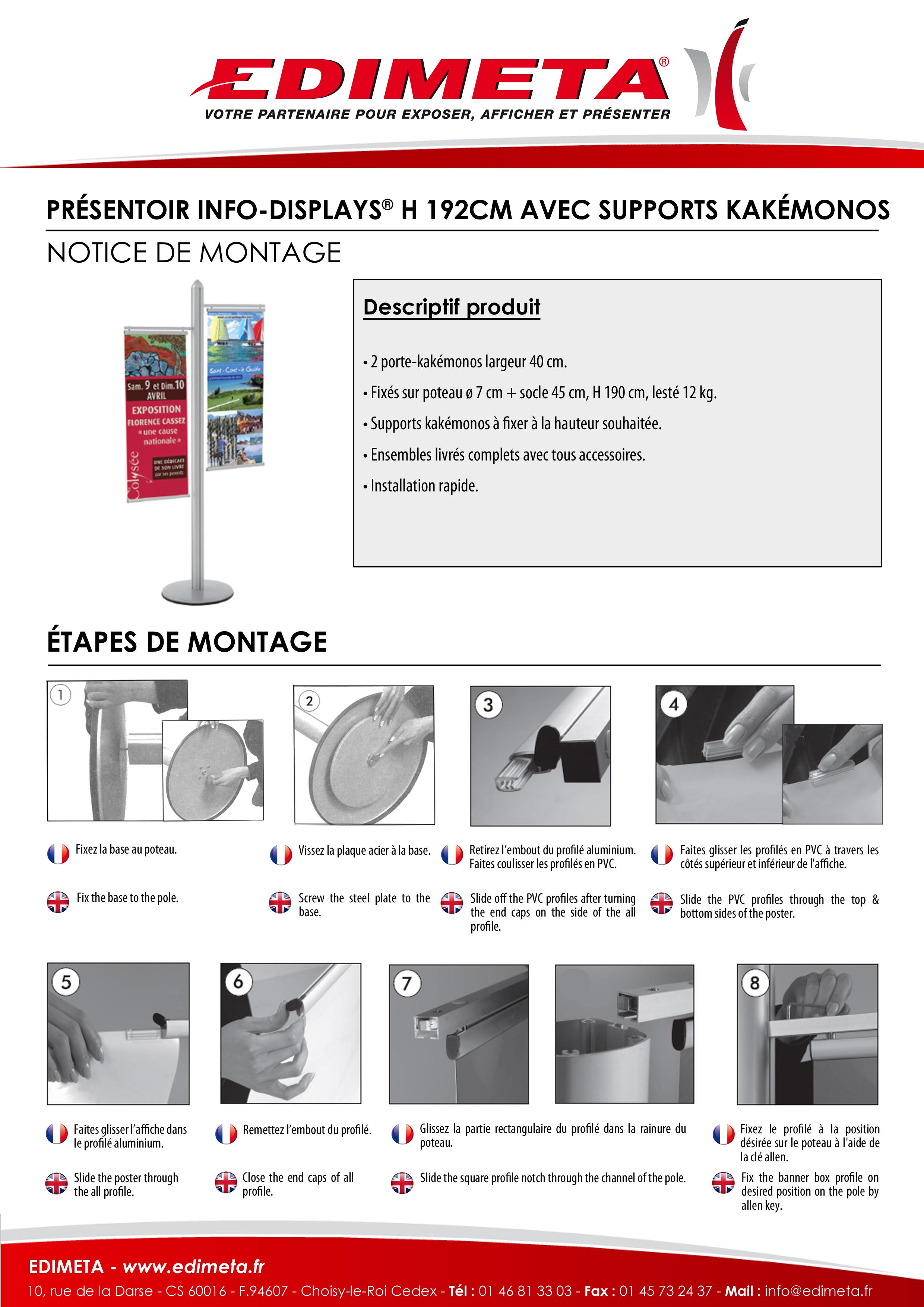 NOTICE DE MONTAGE : PRÉSENTOIR INFO-DISPLAYS® H 192 CM AVEC SUPPORTS KAKÉMONOS