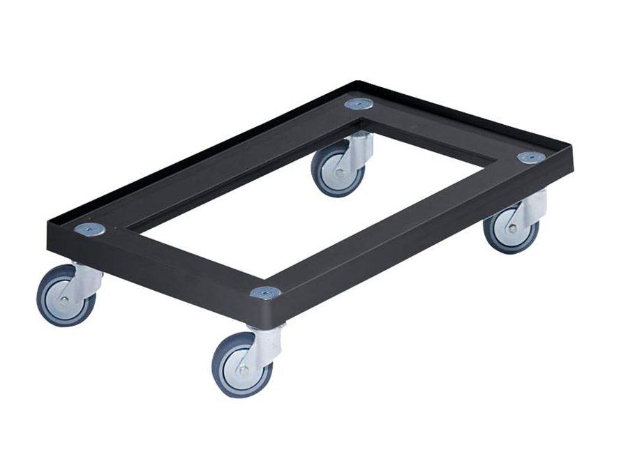 LxB 600 x 400 mmAus Polypropylen, schwarz. 4 Lenkrollen, Rad-Ø 75 mm. Tragfähigkeit 150 kg