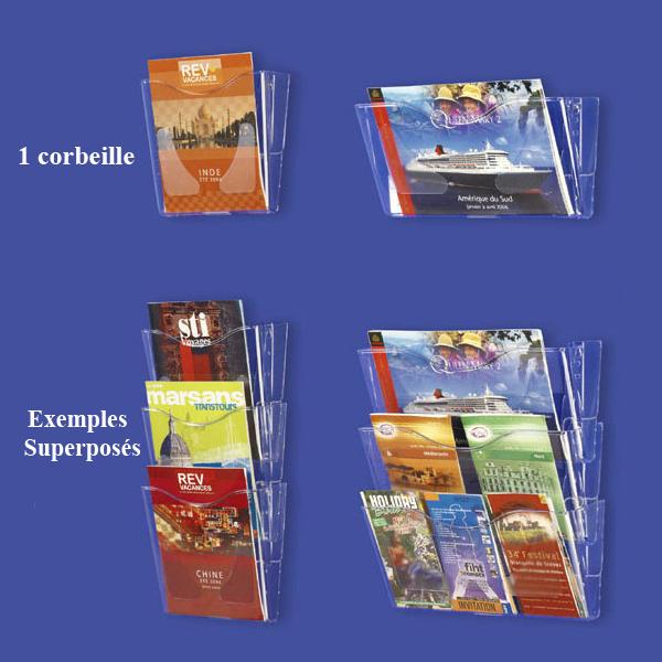 CORBEILLES-PRÉSENTOIRS MURAUX PLEXI SUPERPOSABLES POUR BROCHURES