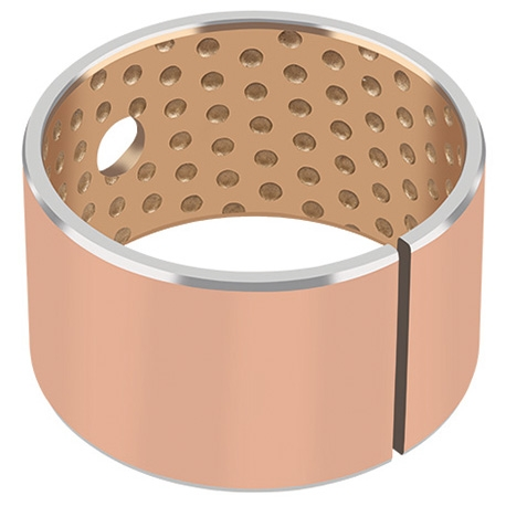 The GGB-SZ lead-free plain bearings consist of a tin-bismuth-bronze sliding layer sintered onto a steel backing. This c