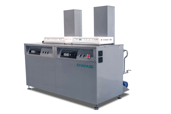 Multi-stage ultrasonic cleaner manufactured for the specific needs of the customer. This industrial cleaning machine, is