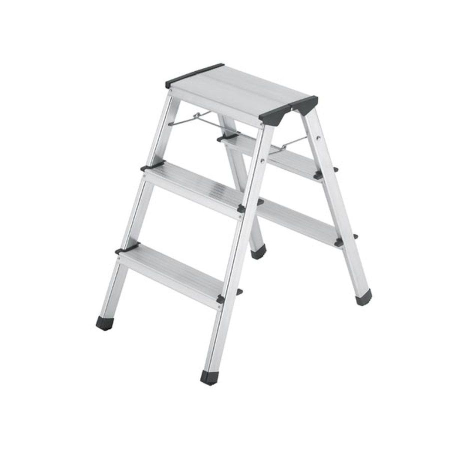 2 x 3 Stufen, Tritthöhe 690 mm Rutschfeste Stufen mit Spezial-Riffelung Standsicher durch Sperrmechanik Komplett aus Alu