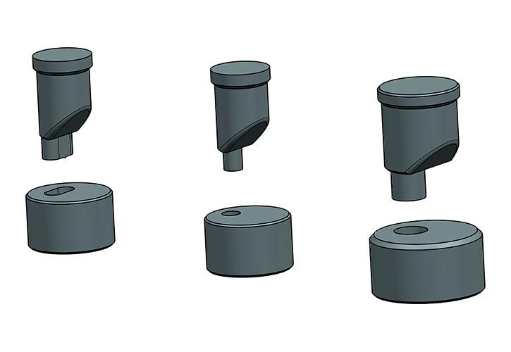 Punzones Excéntricos: Posibilidad de hacer punzonados en angulares y perfiles donde un punzón normal no lo permite.