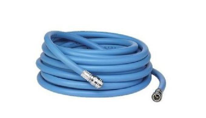 """Tuyau 1/2 de couleur bleue, de longueur 15 mètres. Les coupleurs rapides 1/2"""" femelles Nito sont sertis pour une sécurit"""