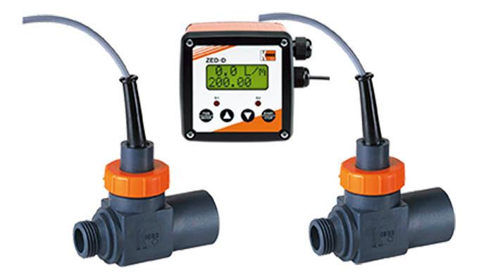 """Messbereich: 2,0 - 40 l/min Wasser Anschluss: G &frac12&#x3b; IG/AG, G &frac34&#x3b;, &frac34&#x3b;"""" NPT AG/AG Material: PPO, PEI, Mess"""