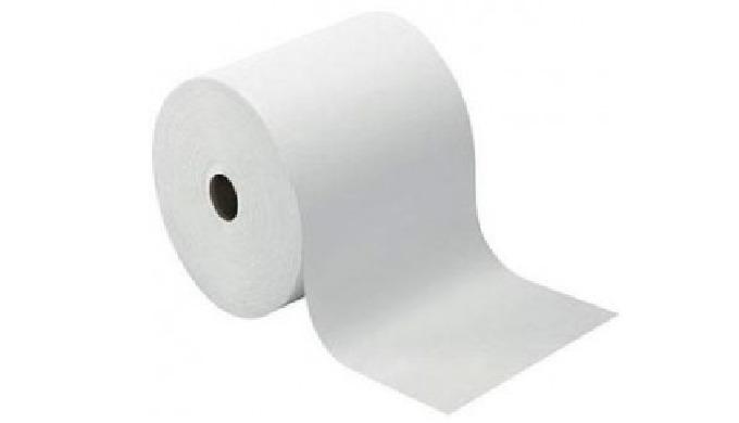 Essuie-mains 2 plis blanc en bobine à dévidage central. Format prédécoupé comprenant 450 feuilles par bobine. Ouate de c