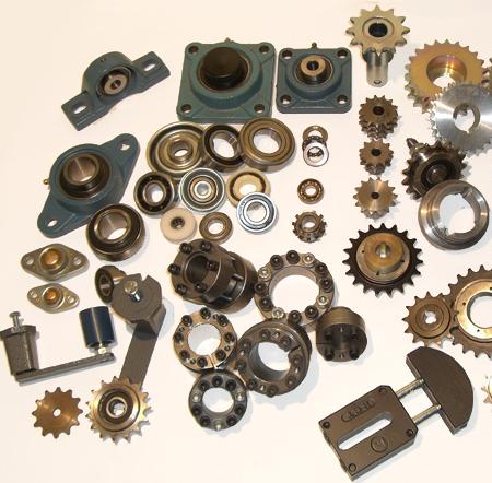 Kedjehjul, spännhjul, spännförband, lagerhus, kullager, klämbussningar och svetsnav. Kedjehjul för rullkedjor, transport