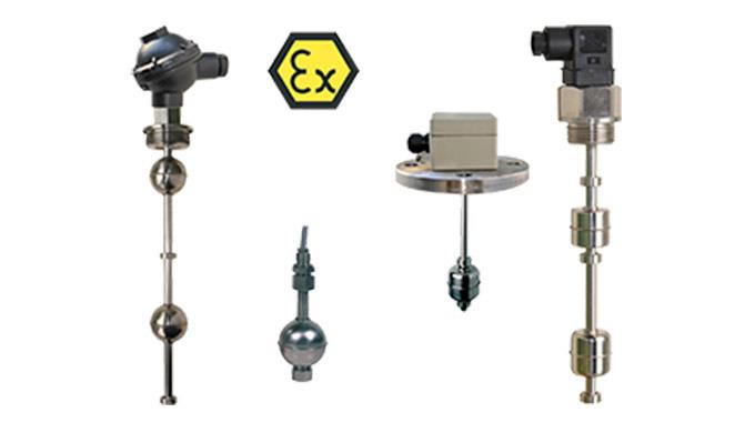 """Kontakt: max. 4 Reedschalter Anschluss: G ⅛ ... G 2 AG, Flansch DN40 ... DN125, 1&frac12&#x3b; ... 4"""" Material: Messing, Edel"""