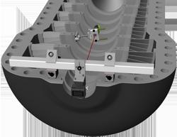 Vid mätning av rakhet med klockmetoden justerar du laserstrålen grovt mot centrumlinjen. Centrumpositionen för varje lag