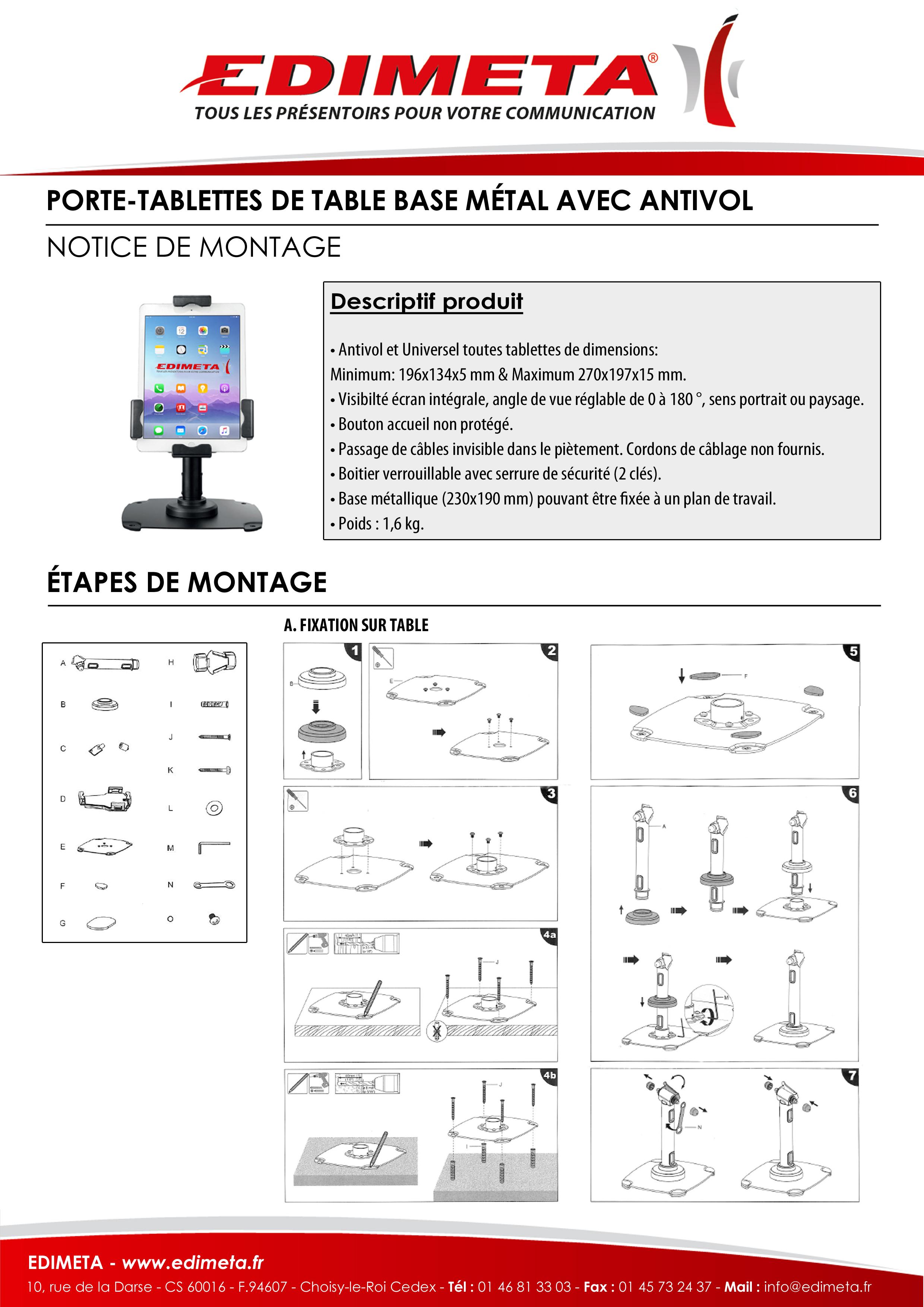 NOTICE DE MONTAGE : PORTE-TABLETTES DE TABLE BASE MÉTAL AVEC ANTIVOL