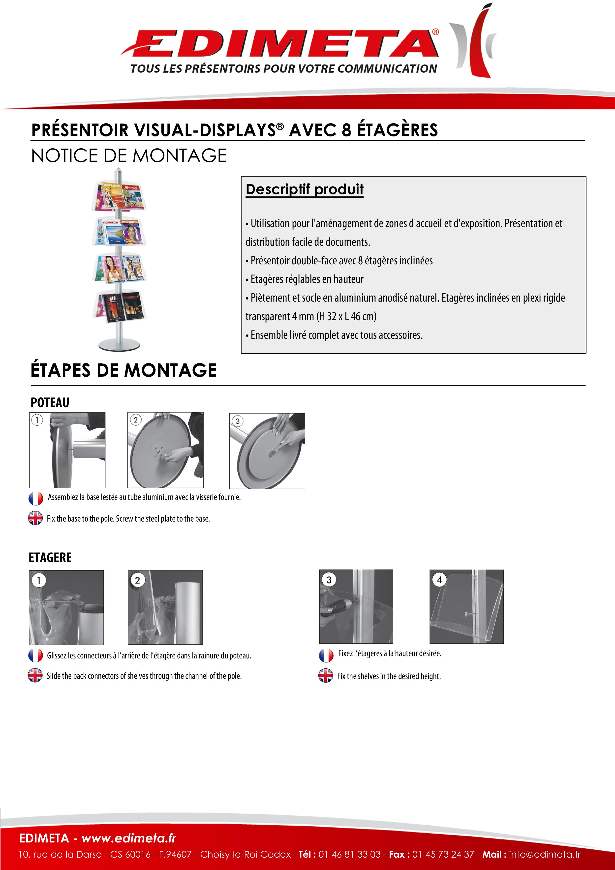 NOTICE DE MONTAGE : PRÉSENTOIR VISUAL-DISPLAYS® AVEC 8 ÉTAGÈRES