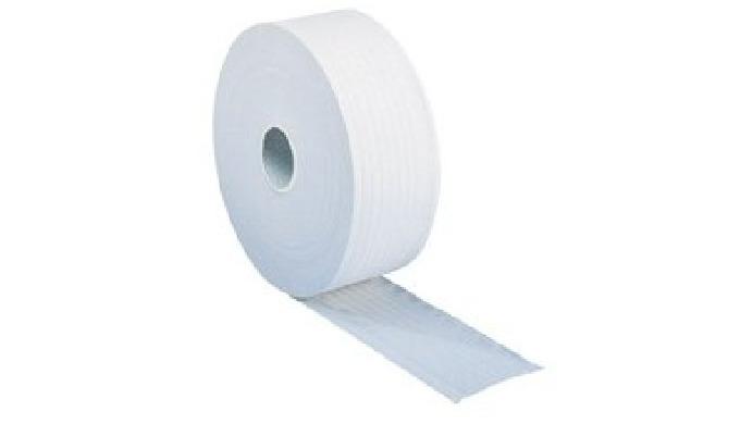 Papiers toilette Maxi-Jumbo blanc de 300m. Pure ouate, 2 plis lisses moletés, qualité supérieure de confort. 860 formats