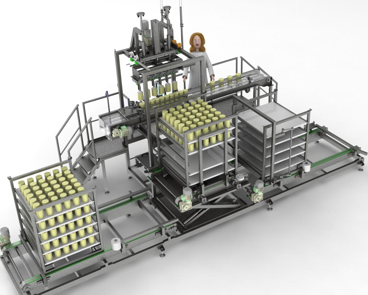 Sistema totalmente automático para movilizar y colocar los quesos en las bandejas de los estantes mediante un grupo de v