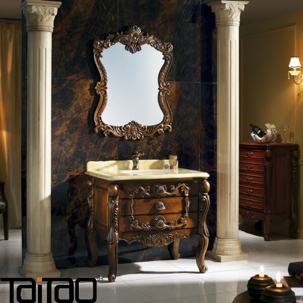 Luxury Royal Style Oak Hand Carved Bathroom Cabinet With Onyx Vanity