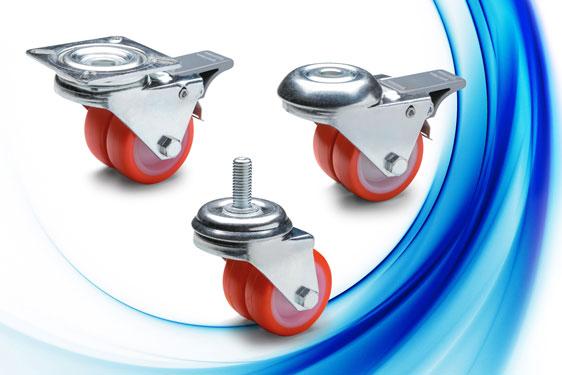 Twin polyurethane wheeled castors from Elesa - low height, high load capacity