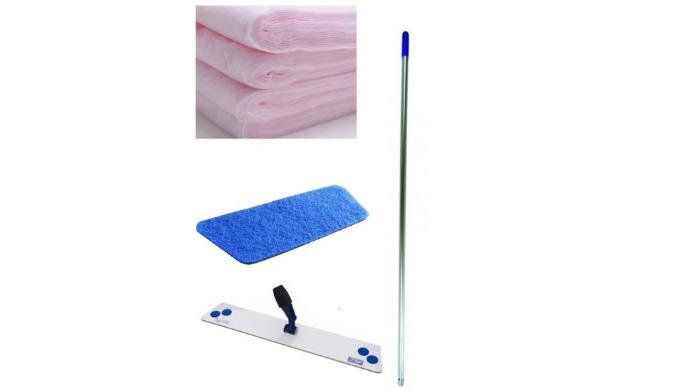 Balai Multinet pour le balayage humide, avec fibre bleue 40cm pour recevoir les gazes, composé d'un manche aluminium de