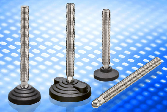 AISI 304 stainless steel levelling elements series LSQ.A-SST, LVQ.A-SST and LVQ.F-SST. The levelling feet adopt the new