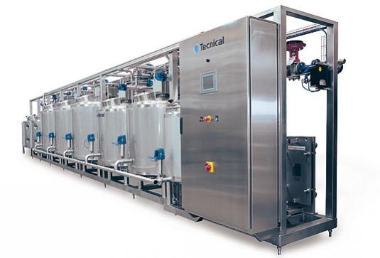 Depósito cilíndrico vertical con fondo plano inclinado, diseñado especialmente para la elaboración de yogur y leche o cr